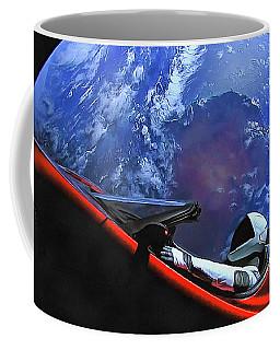 Starman In Tesla With Planet Earth Coffee Mug