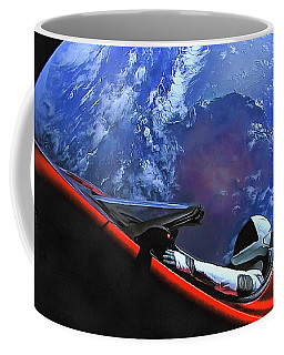 Starman In Tesla With Planet Earth Coffee Mug