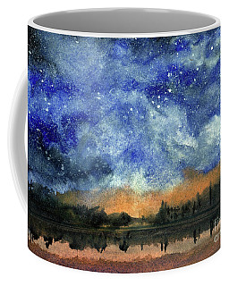 Starry Night Across Our Lake Coffee Mug by Randy Sprout