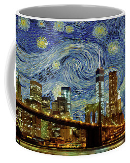 Coffee Mug featuring the painting Starry Night Brooklyn Bridge by Movie Poster Prints