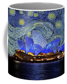 Coffee Mug featuring the painting Starry Night Sydney Opera House by Movie Poster Prints