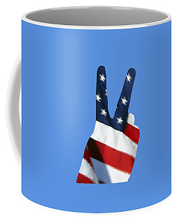 Coffee Mug featuring the photograph Stars And Stripes Peace Sign .png by Al Powell Photography USA