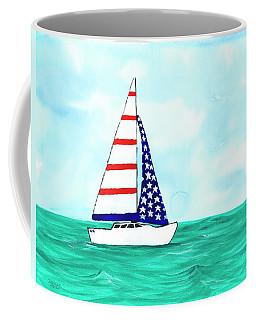 Stars And Strips Sailboat Coffee Mug by Darice Machel McGuire