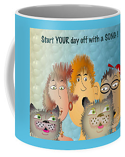 Coffee Mug featuring the digital art Start Off Your Day With A Song by Iris Gelbart