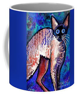 Startled Cornish Rex Cat Coffee Mug by Svetlana Novikova