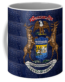 State Of Michigan Flag Recycled Vintage License Plate Art Version 1 Coffee Mug