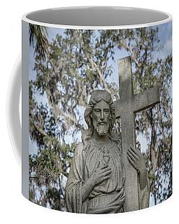 Coffee Mug featuring the photograph Statue Of Jesus And Cross by Kim Hojnacki