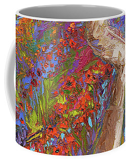 Coffee Mug featuring the painting Stay On The Path - Modern Impressionist, Landscape Painting, Oil Palette Knife by Patricia Awapara