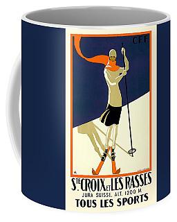 Ste Croix Et Les Rasses - Tous Les Sports - Retro Travel Poster - Vintage Poster Coffee Mug