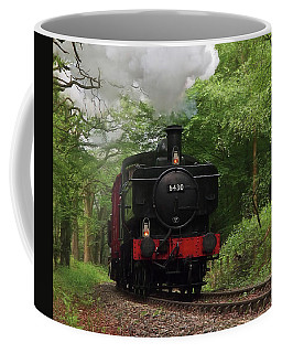 Steam Train Approaching In The Forest Coffee Mug by Gill Billington