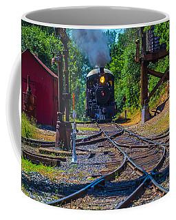 Steam Train Coming Down The Tracks Coffee Mug