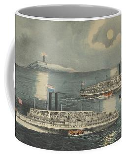 Steamboats Passing At Midnight On Long Island Sound Coffee Mug