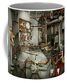 Coffee Mug featuring the photograph Steampunk - In The Engine Room by Mike Savad