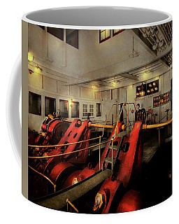 Coffee Mug featuring the photograph Steampunk - Man The Controls 1908 by Mike Savad
