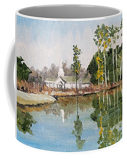 Coffee Mug featuring the painting Steeple Reflection by Jim Phillips