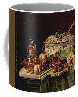 Still Life  Fruit And Dishes  Late 19th Century Oil On Panel Gottfried Schultz  German  1842  1919 Coffee Mug
