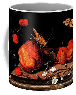 Still Life Fruit Grasshopper Butterfly Coffee Mug