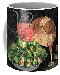 Still Life Of Figs, Wine, Bread And Books Coffee Mug