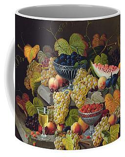 Still Life Of Melon Plums Grapes Cherries Strawberries On Stone Ledge Coffee Mug
