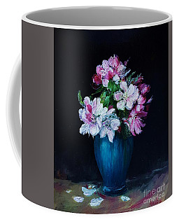 Still Life With Apple Tree Flowers In A Blue Vase Coffee Mug