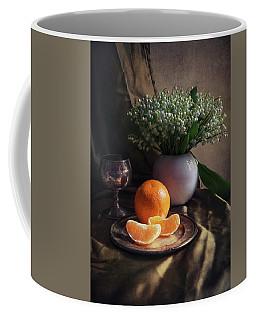 Still Life With Fresh Flowers And Tangerines Coffee Mug by Jaroslaw Blaminsky
