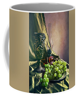Coffee Mug featuring the photograph Still Life With Green Grapes by Jaroslaw Blaminsky