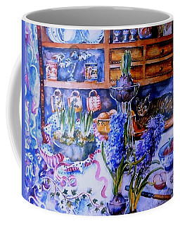 Coffee Mug featuring the painting Still Life With Hyacinths  by Trudi Doyle