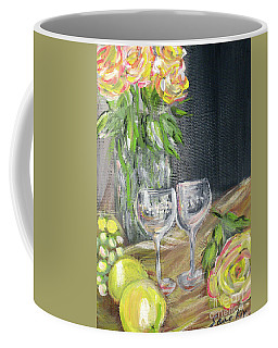 Still Life With Lemons, Roses  And Grapes. Painting Coffee Mug