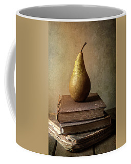 Still Life With Old Books And Fresh Pear Coffee Mug