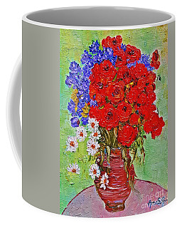 Still Life With Poppies And Blue Flowers Coffee Mug
