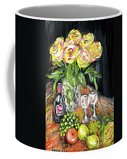 Still Life With Roses, Fruits, Wine. Painting Coffee Mug