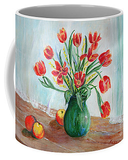 Still Life With Tulips And Apples - Painting Coffee Mug