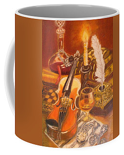 Still Life With Violin And Candle Coffee Mug
