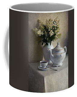 Still Life With White Tea Set And Bouquet Of White Flowers Coffee Mug