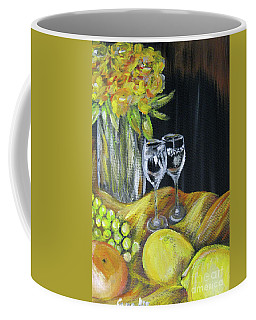 Still Life With Wine Glasses, Roses And Fruit. Painting Coffee Mug
