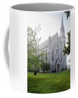 Stone Chapel In Fog Coffee Mug