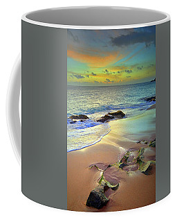 Coffee Mug featuring the photograph Stones In The Sand At Sunset by Tara Turner