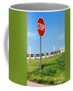 Coffee Mug featuring the photograph Stop For The Blue Bonnets by Joan Bertucci