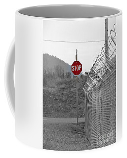 Stop Here And There Too Coffee Mug