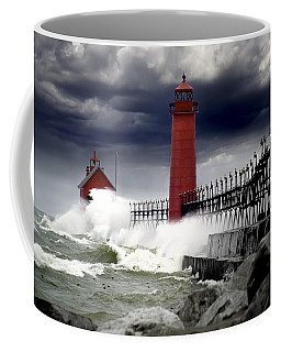 Storm At The Grand Haven Lighthouse Coffee Mug