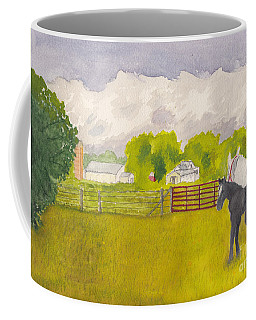 Storm Clouds Mare And Colt At Sunrise Coffee Mug