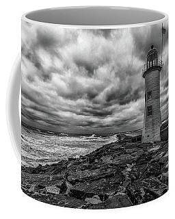 Storm Clouds Over Old Scituate Lighthouse In Black And White Coffee Mug