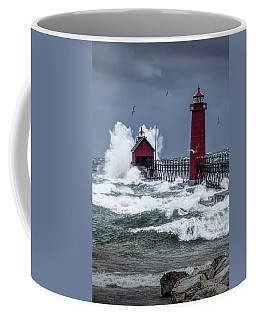 Storm On Lake Michigan By The Grand Haven Lighthouse With Flying Gulls Coffee Mug