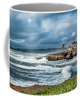 Coffee Mug featuring the photograph Storm Wave At Sunset Cliffs by Daniel Hebard