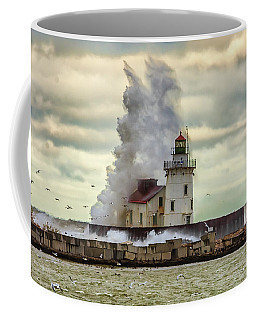 Storm Waves At The Cleveland Lighthouse Coffee Mug