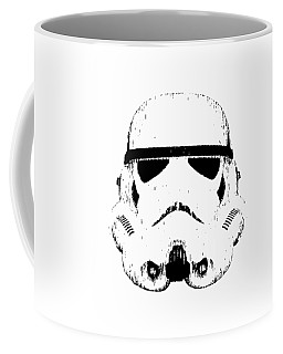 Coffee Mug featuring the digital art Stormtrooper Helmet Star Wars Tee Black Ink by Edward Fielding