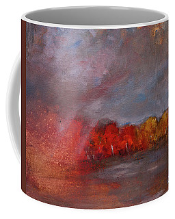 Stormy Fall Landscape Red Yellow Leaves Coffee Mug