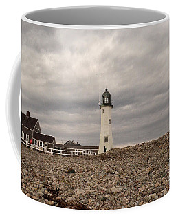 Stormy Old Scituate Light Coffee Mug by DejaVu Designs