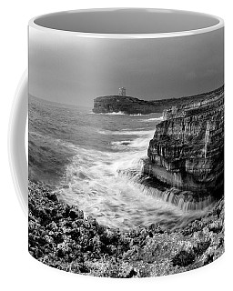 Coffee Mug featuring the photograph stormy sea - Slow waves in a rocky coast black and white photo by pedro cardona by Pedro Cardona