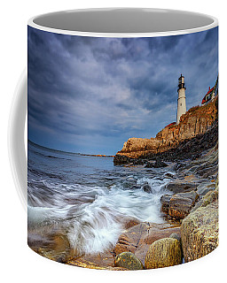 Stormy Skies At Portland Head Coffee Mug by Rick Berk